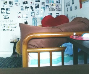 bed, photos, and room image