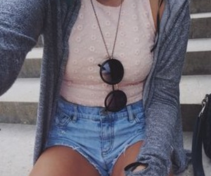 bag, necklace, and shorts image