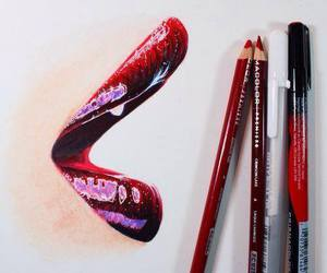 drawing, lips, and red image