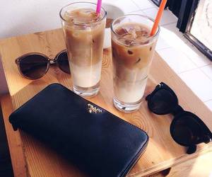 drink, sunglasses, and coffee image