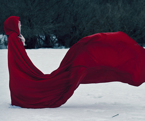 red, snow, and red riding hood image