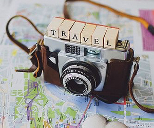 travel, camera, and map image