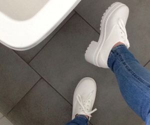 white, jeans, and shoes image