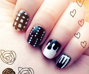 black and white, nails, and nail design image