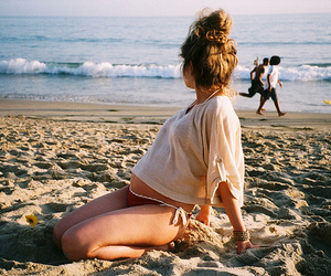 girl, pregnant, and beach image
