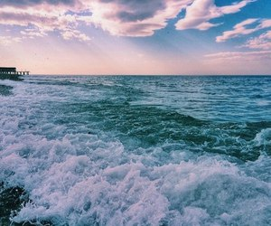waves, clouds, and ocean image