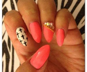 nails, cross, and nail art image