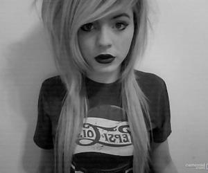girl, black and white, and blonde image