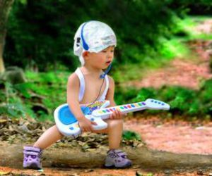 baby, cute, and guitar image