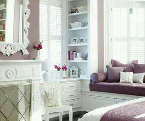 bedroom, room, and purple image