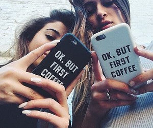 coffee, iphone, and friends image