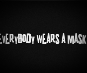 black and white, mask, and text image