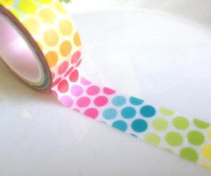 polka dots, neon tape, and colorful ball image