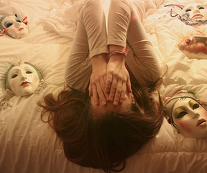 mask, girl, and bed image