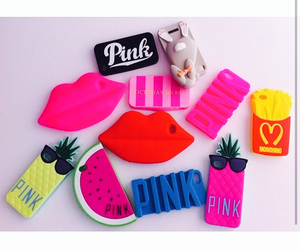 pink victoria secret and iphone fundad kiss love image