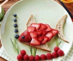 fish, food, and strawberry image