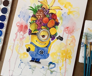 minions, art, and fruit image