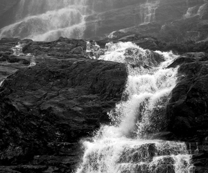 waterfall, black and white, and nature image