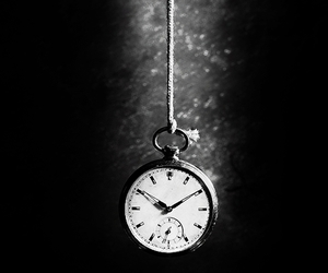 time, clock, and black and white image