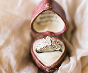 box, wedding ring, and decorations image