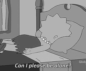 alone, black and white, and lisa simpson image