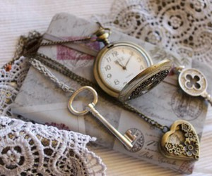 key, vintage, and clock image