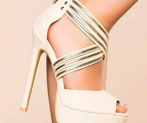 gold, white, and shoes image