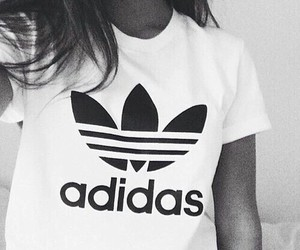 adidas, black and white, and white image