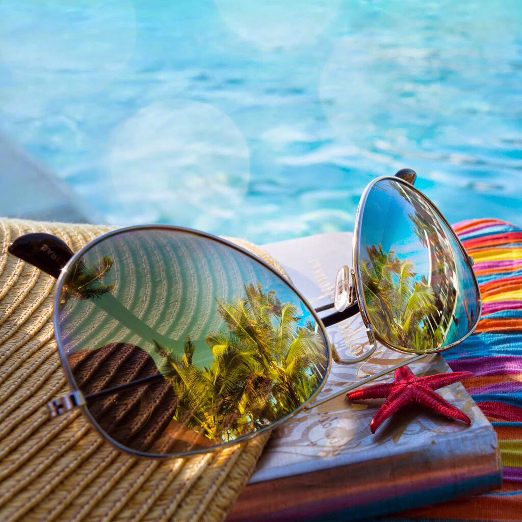 beach, glasses, and pool image