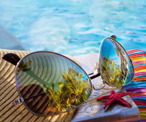 beach, pool, and glasses image