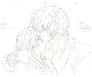 animation, kiss on forehead, and hak image