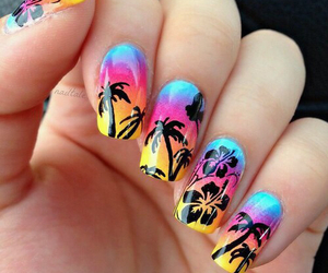 nails, nail art, and summer image