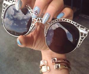 sunglasses, nails, and glasses image
