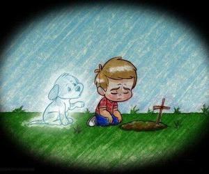 dog, sad, and boy image