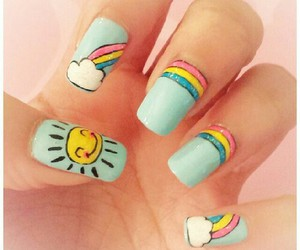 nails, rainbow, and sun image