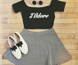 black and white, bows, and crop top image