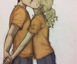 percabeth, percy jackson, and kiss image