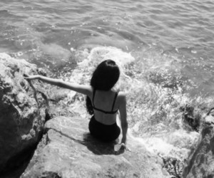 girl, sea, and black and white image