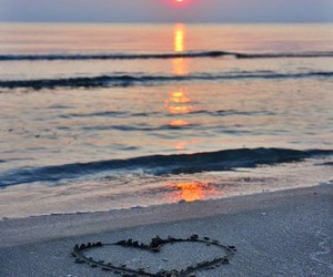 beach, sand, and heart image