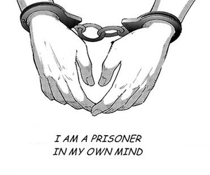 black and white, hands, and prisoner image