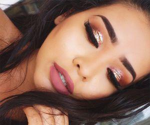 brunette, fashion, and eyeshadow image
