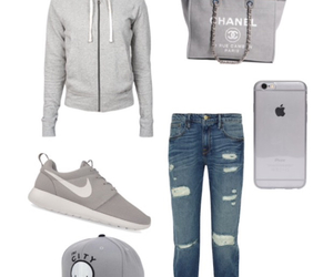 bag, grey, and polyvore outfit image