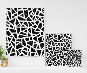 black and white, wall art graphic, and bedroom house home image