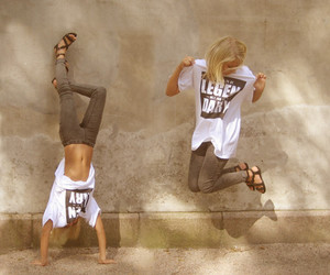 girl, blonde, and jump image