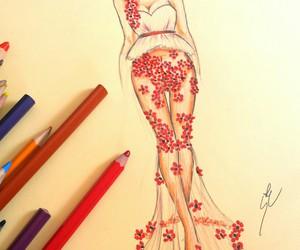 drawing, dress, and fashion image