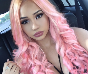 pink, pink hair, and hair image