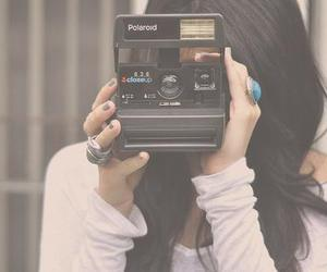 girl, camera, and polaroid image