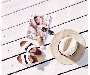 hat, sandals, and sunglasses image