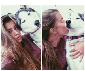 beauty, brunette, and dog image