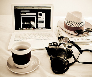 camera, coffee, and hat image
